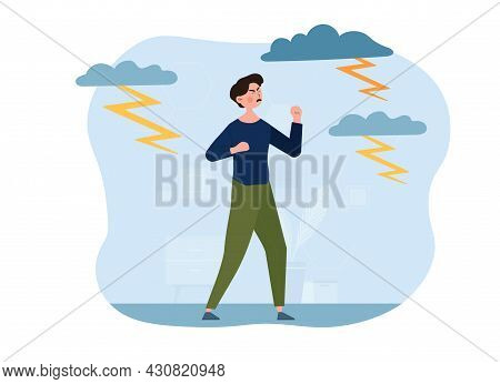 Young Male Character Is Feeling Anger And Rage Surrounded By Lightnings. Negative Emotions, Aggressi