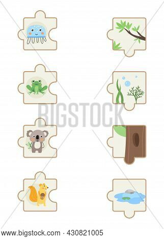 Set With Colorful Children Educational Puzzle Game On White Background. Game To Find Out Where Do An