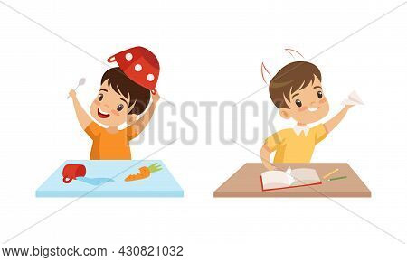 Naughty Little Boy Putting Bowl On His Head And Flying Paper Plane Vector Set