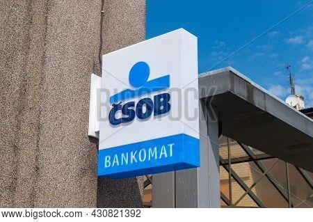 Cesky Tesin, Czech Republic - June 5, 2021: Emblem Of Bankomat Belong To Ceskoslovenska Obchodni Ban