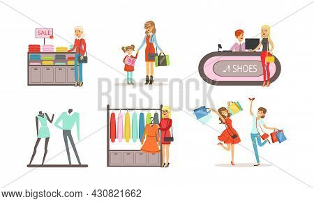 People Shopping For Clothes In Shopping Center Set, Women, Men And Kids Choosing Apparel Cartoon Vec