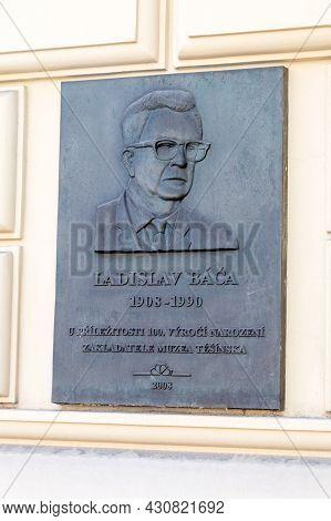 Cesky Tesin, Czech Republic - June 5, 2021: Plaque Dedicated To Ladislav Baca, Teacher, Ethnographer
