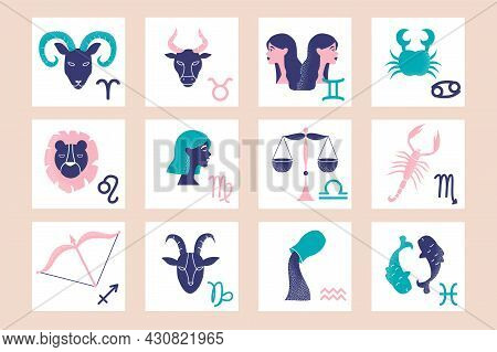 Colorful Set Of Zodiac Signs On Pink Background. Zodiac Sign Elements As A Poster Or Wall Art Templa