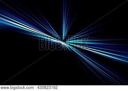 Abstract Surface Of Radial Blur Zoom  In Blue And White Tones Against A Black Background. Spectacula