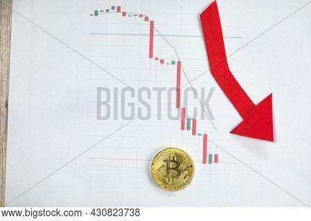 Depreciation Of Virtual Money Bitcoin. Exchange Rate Depreciation. Red Arrow And Golden Bitcoin Ladd