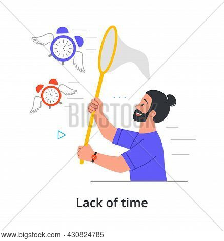 Smiling Male Character Is Trying To Catch Time Flying Away To Be On Time On White Background. Concep