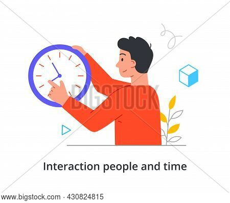 Young Cheerful Male Character Is Trying Change Time On Clock To Be On Time On White Background. Conc