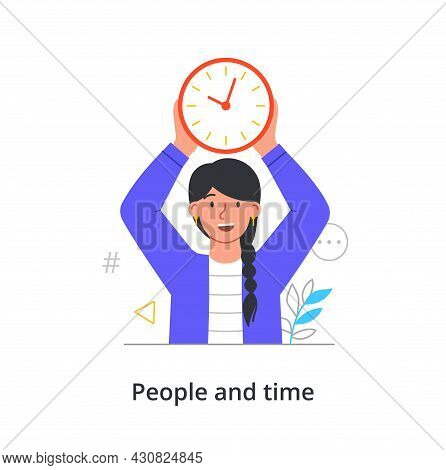 Cheerful Female Character Is Holding Time Clock In Hands Over Her Head On White Background. Concept