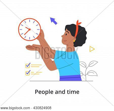 Cheerful Female Character Is Lifting Her Clock Up In The Air On White Background. Concept Of People