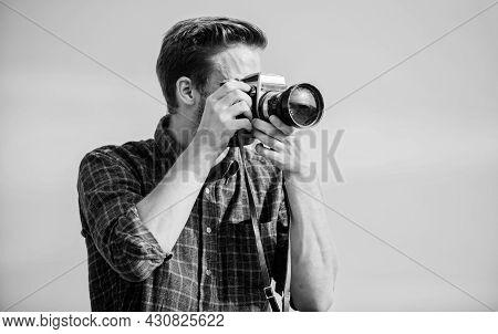 Reporter Taking Photo. Manual Settings. Travel Blogger. Vintage Equipment. Hipster Photographer. Blo