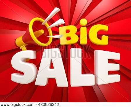 Three-dimensional Lettering Big Sale And Megaphone On A Bright Background Of Red Rays. 3d Render
