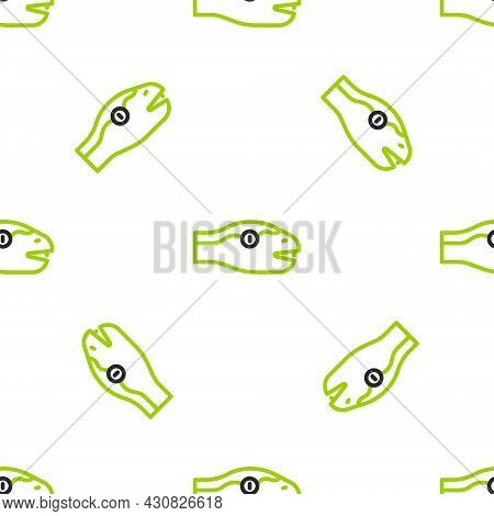 Line Snake Icon Isolated Seamless Pattern On White Background. Vector