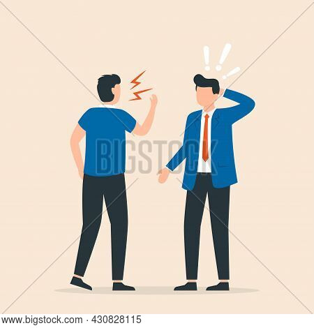 Conflict In Office Between Chief And Worker. Boss Shouting To Employee. Vector Illustration