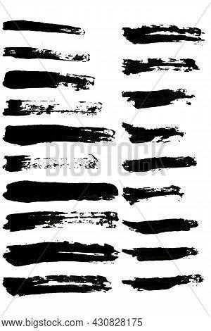 Black Vector Brush Stroke Set Isolated On White Background. Trendy Brush Stroke For Black Ink Paint,
