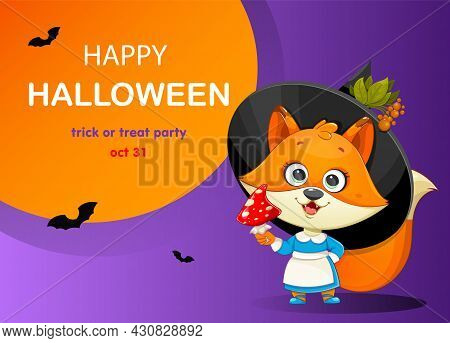 Happy Halloween Greeting Card With Cute Foxy Witch. Funny Witch Fox With Fly Agaric. Stock Vector Il
