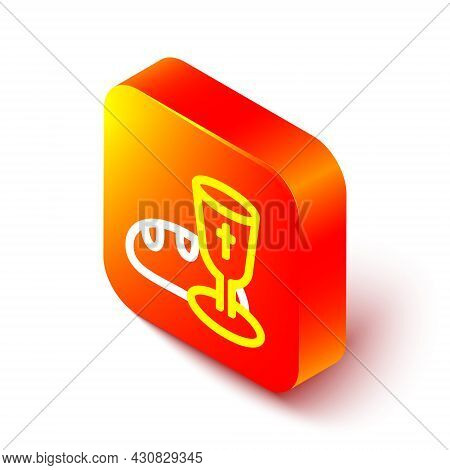Isometric Line Goblet And Bread Icon Isolated On White Background. Bread And Wine Cup. Holy Communio