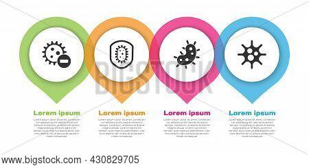 Set Negative Virus, Shield Protecting From Virus, Virus And Virus. Business Infographic Template. Ve