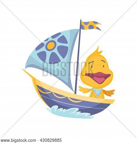 Cute Duckling Animal Sailing On Boat. Vector Funny Cartoon Sailor On Sailboat With Water Waves Isola