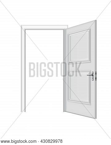 Opened White Entrance. Realistic Door With Frame Isolated On White Background. Clean Design White Do