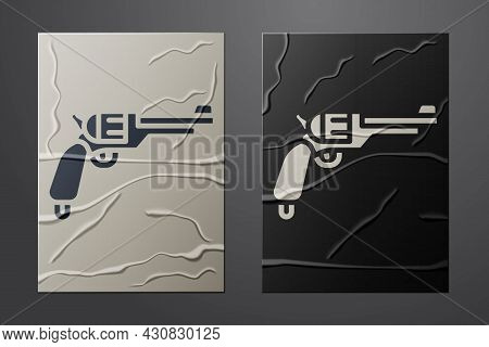 White Revolver Gun Icon Isolated On Crumpled Paper Background. Paper Art Style. Vector