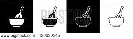 Set Kitchen Whisk With Bowl Icon Isolated On Black And White Background. Cooking Utensil, Egg Beater