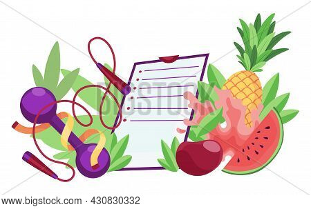 Diet Healthy Lifestyle Banner Template. Sports Equipment And Healthy Food With Checklist. Concept Of