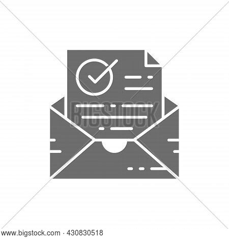 Confirmation Letter, Checked, Envelope With Check Mark, Verification Grey Icon.