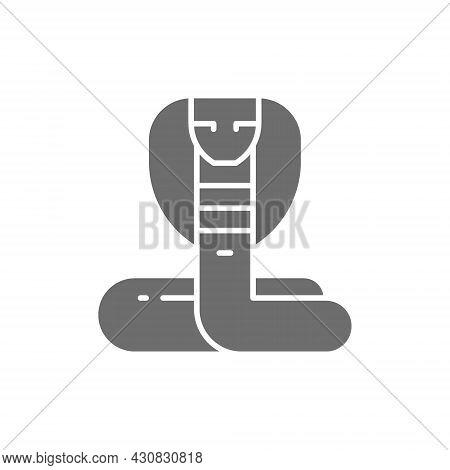 Cobra, Snake Grey Icon. Isolated On White Background