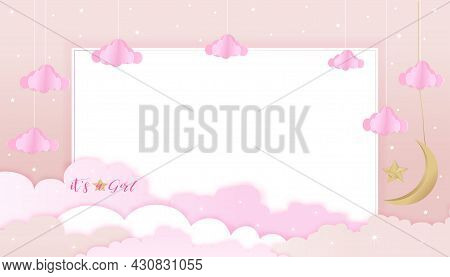 Baby Girl Shower Card On Pink Sky And Cloud Background,vector Cute Paper Art Origami Cloudscape, Cre