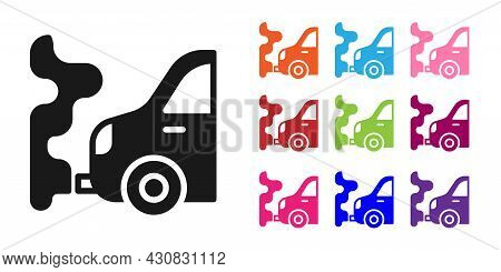 Black Car Exhaust Icon Isolated On White Background. Set Icons Colorful. Vector