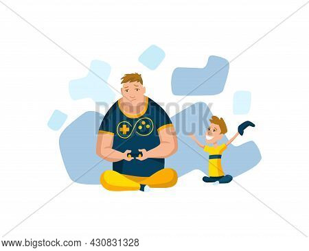 Father Spend Time With Son. Dad And Son Playing Game, Happy Family Concept. Fatherhood Flat Cartoon