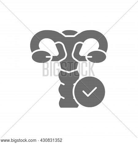 Healthy Female Genitals, Uterus, Ovaries, Vagina Grey Icon.