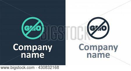 Logotype No Gmo Icon Isolated Logotype Background. Genetically Modified Organism Acronym. Dna Food M