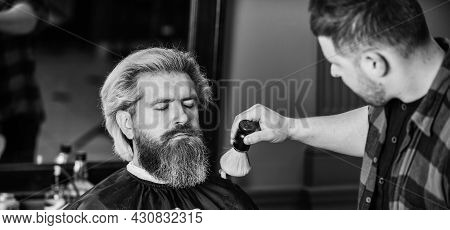 Enjoy The Services. Hair Care And Male Grooming Concept. Get Perfect Shape. Bearded Man Getting Bear