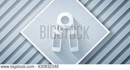 Paper Cut Sport Expander Icon Isolated On Grey Background. Sport Equipment. Paper Art Style. Vector