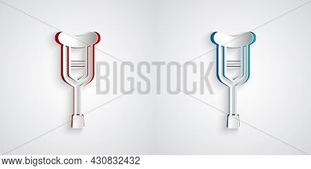 Paper Cut Crutch Or Crutches Icon Isolated On Grey Background. Equipment For Rehabilitation Of Peopl