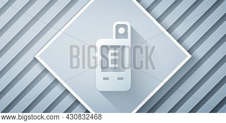 Paper Cut Light Meter Icon Isolated On Grey Background. Hand Luxmeter. Exposure Meter - A Device For