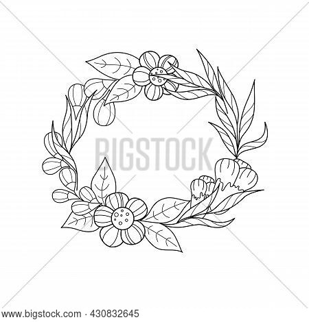 Abstract Floral Black And White Floral Background, Vertical Borders. Contour Vector Illustration Of