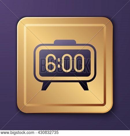 Purple Digital Alarm Clock Icon Isolated On Purple Background. Electronic Watch Alarm Clock. Time Ic