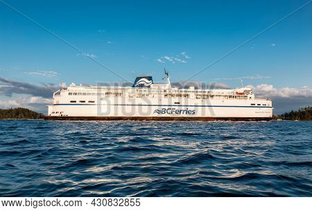 Victoria, Vancouver Island, British Columbia, Canada - August 16, 2021: Bc Ferries Boat Arriving To