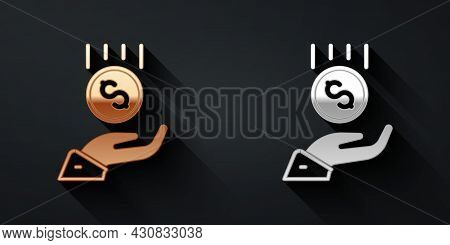 Gold And Silver Coins On Hand - Minimal Wage Icon Isolated On Black Background. Long Shadow Style. V