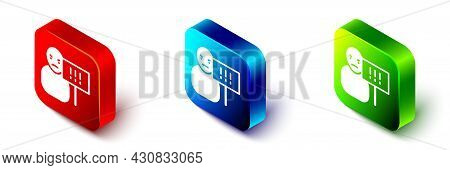 Isometric Protest Icon Isolated On White Background. Meeting, Protester, Picket, Speech, Banner, Pro