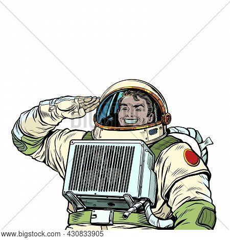 The Joyful Astronaut Salutes, The Cosmonaut Captain. Soldier Of The Universe