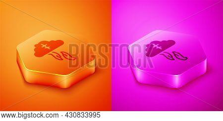 Isometric Gods Helping Hand Icon Isolated On Orange And Pink Background. Religion, Bible, Christiani