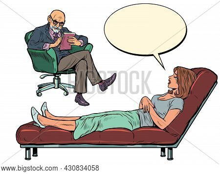 A Male Psychotherapist At A Psychotherapy Session With A Patient, Listens To A Woman, Sits In A Chai