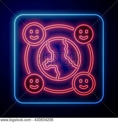 Glowing Neon International Community Icon Isolated On Black Background. Worldwide Community. Cross C