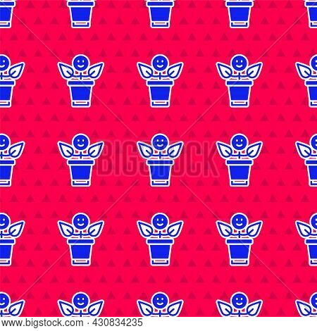 Blue Bff Or Best Friends Forever Icon Isolated Seamless Pattern On Red Background. Vector