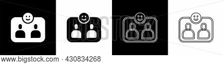 Set Friends Forever Icon Isolated On Black And White Background. Everlasting Friendship Concept. Vec