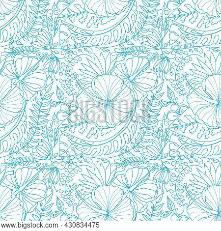 Vector Creative Doodle Seamless Pattern With Tropical Flowers And Palm Leaves. Hand Drawn Tropical P