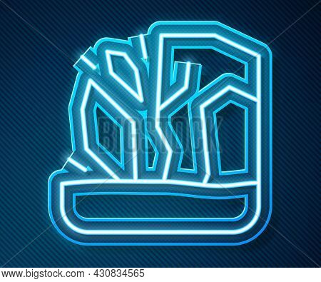 Glowing Neon Line Glacier Melting Icon Isolated On Blue Background. Vector